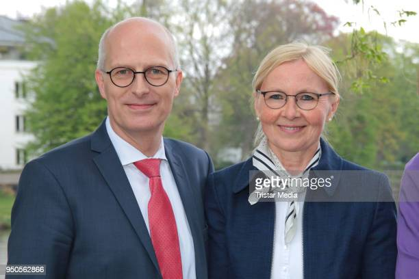 Peter Tschentscher and his wife Eva Maria Tschentscher attend the celebration of Michael Otto's 75th birthday party on April 23, 2018 in Hamburg,...