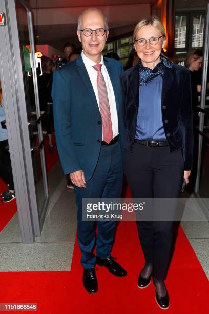 "Peter Tschentscher and his wife Eva Maria Tschentscher attend the ""Tag des Journalismus"" with Nannen Award 2019 at Gruner + Jahr publishing house at..."