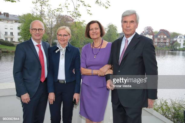 Peter Tschentscher and his wife Eva Maria Tschentscher, Christl Otto and Michael Otto attend the celebration of Michael Otto's 75th birthday party on...