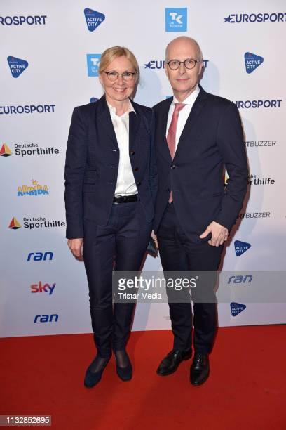 Peter Tschentscher and his wife Eva-Maria Tschentscher attend the German Sports Journalism Award at Hotel Grand Elysee on March 25, 2019 in Hamburg,...