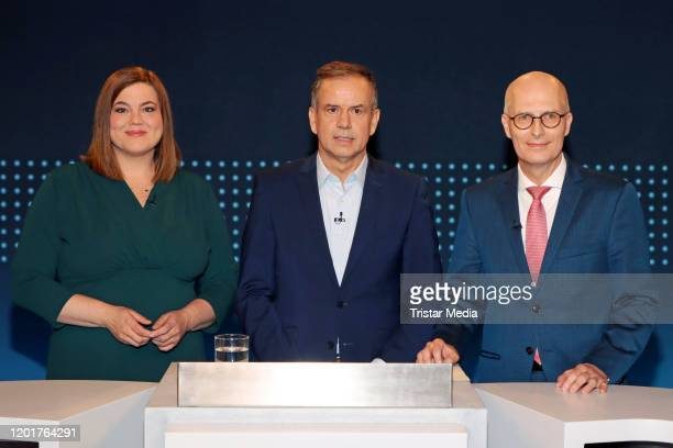 Peter Tschentscher Andreas Cichowicz and Katharina Fegebank during the choice program with the Hamburg candidates on February 18 2020 in Hamburg...