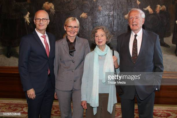 Peter Tschentscher, Eva-Maria, Ulla Hahn and former mayor of Hamburg Klaus von Dohnanyi during he celebrates his 90th birthday on September 3, 2018...