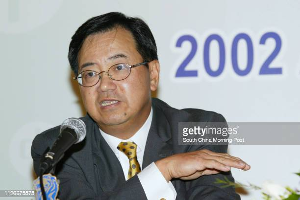 Peter Tse Executive Director Chief Financial Officer of CLP Holdings speaks to media on their 2002 Annuel Results at Ritz Carlton Hotel Cental 24...