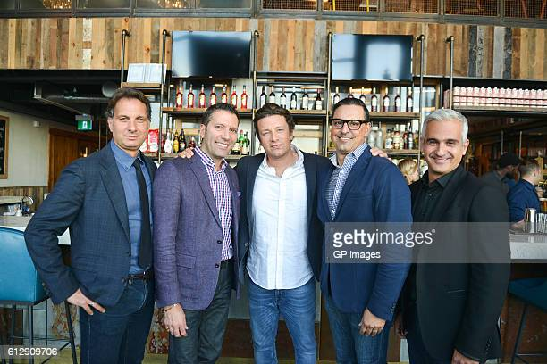 Peter Tsebelis Vince Marinelli Jamie Oliver Nick Kypreos and Gus Giazitzidis group photo at Jamie's Italian Canada at Yorkdale Shopping Centre on...