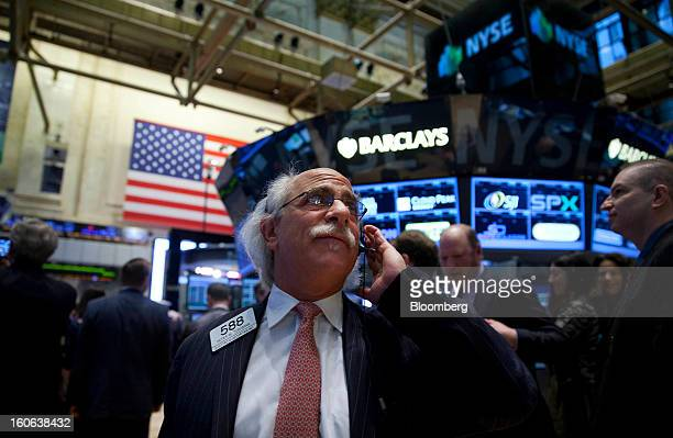 Peter Tuchman a trader with Quattro M Securities Inc works on the floor of the New York Stock Exchange in New York US on Monday Feb 4 2013 US stocks...