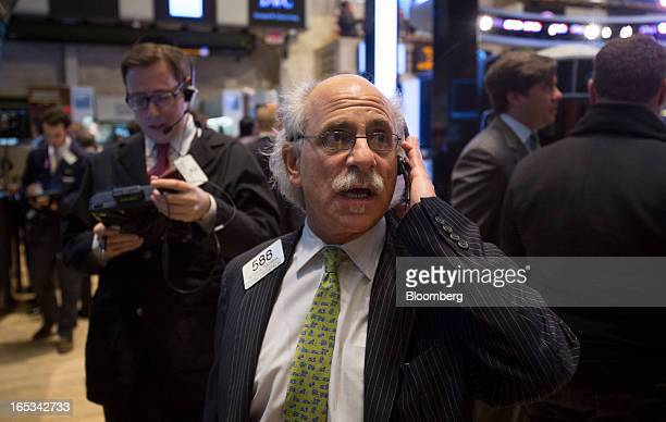 Peter Tuchman a trader with Quattro M Securities Inc works on the floor of the New York Stock Exchange in New York US on Wednesday April 3 2013 US...