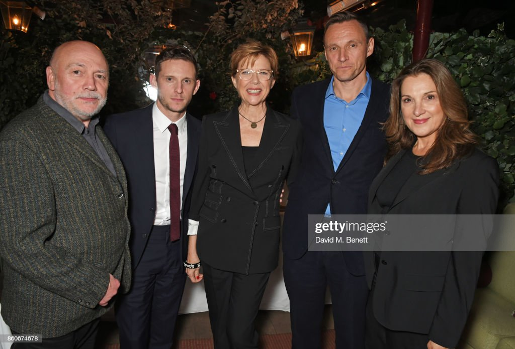 Peter Turner, Jamie Bell, Annette Bening, Zygi Kamasa, CEO of Lionsgate UK, and co-producer Barbara Broccoli attend the PORTER & Lionsgate UK after party for 'Film Stars Don't Die In Liverpool' at Mark's Club on October 12, 2017 in London, England.