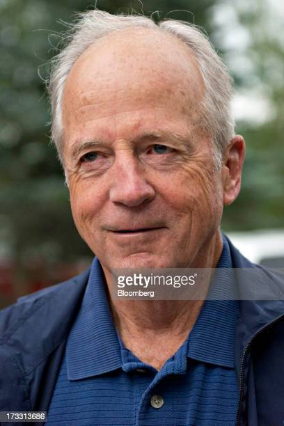 Peter Ueberroth chairman of Contrarian Group Inc talks to the media as he arrives for a morning session during the Allen Co Media and Technology...