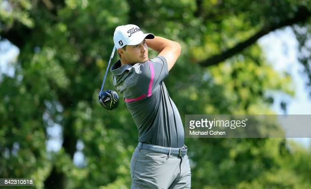 Peter Uihlein hits his drive on the second hole during the fourth and final round of the Nationwide Children's Hospital Championship held at The Ohio...