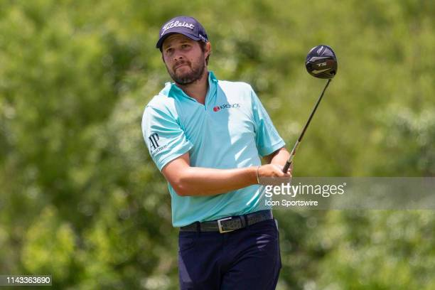 Peter Uihlein hits his tee shot on during the final round of the ATT Byron Nelson on May 12 2019 at Trinity Forest Golf Club in Dallas TX