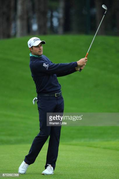 Peter Uihlein of the United States hits his second shot on the 1st hole during the final round of the Turkish Airlines Open at the Regnum Carya Golf...