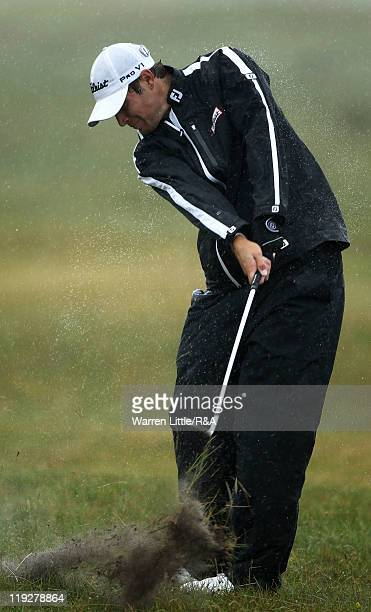 Peter Uihlein of the United States plays an approach shot during the third round of The 140th Open Championship at Royal St George's on July 16 2011...