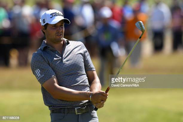 Peter Uihlein of the United States plays his second shot on the 10th hole during the final round of the 146th Open Championship at Royal Birkdale on...