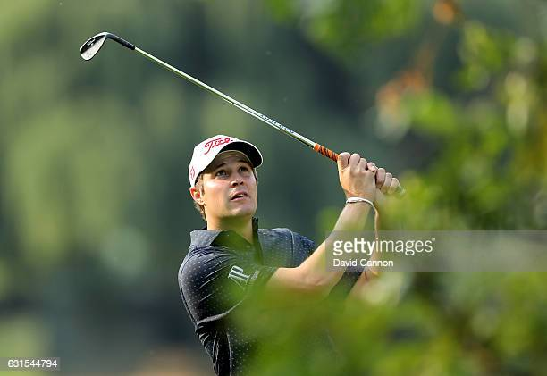 Peter Uihlein of the United States plays his second shot on the 18th hole during the first round of the 2017 BMW South African Open Championship at...