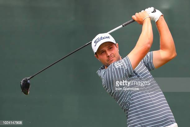 Peter Uihlein of the United States plays his shot from the first tee during the third round of The Northern Trust on August 25, 2018 at the Ridgewood...