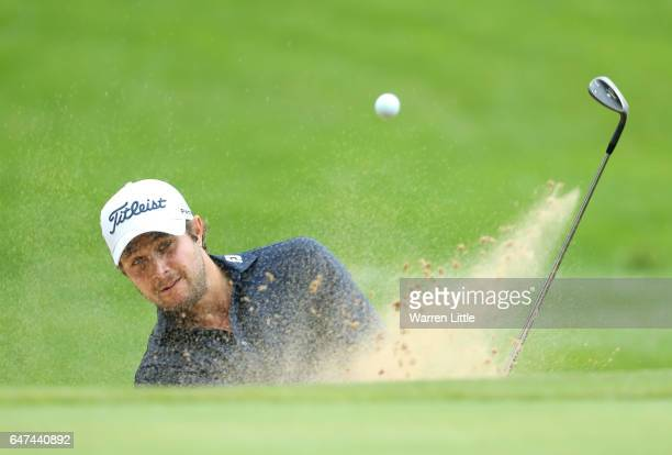 Peter Uihlein of The United States plays out of the greenside bunker during Day Two of The Tshwane Open at Pretoria Country Club on March 3 2017 in...