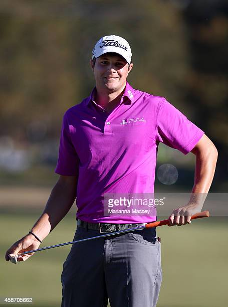 Peter Uihlein of the United States reacts after missing his birdie putt on the 18th hole during the Final Round of the Sanderson Farms Championship...