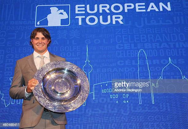Peter Uihlein of the United States receives the 2013 Sir Henry Cotton Rookie of the Year award during the European Tour Players' Awards ahead of the...