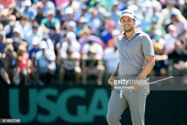 Peter Uihlein of the United States smiles on the seventh green during the first round of the 2018 US Open at Shinnecock Hills Golf Club on June 14...