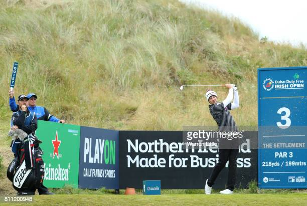 Peter Uihlein of the United States tees off on the 3rd hole during the final round of the Dubai Duty Free Irish Open at Portstewart Golf Club on July...
