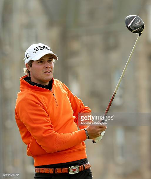 Peter Uihlein of the USA drives off the second tee during the final round of the Alfred Dunhill Links Championship on The Old Course at St Andrews on...