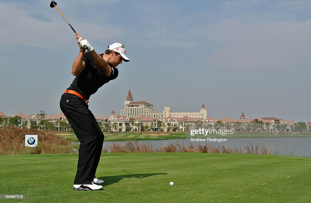 Peter Uihlein of the USA hits his tee-shot on the ninth hole during the final round of the BMW Masters at Lake Malaren Golf Club on October 27, 2013 in Shanghai, China.