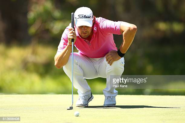 Peter Uihlein of the USA reads the 3rd green during day three of the 2016 Perth International at Karrinyup GC on February 27 2016 in Perth Australia
