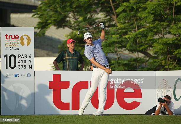 Peter Uihlein of USA in action during the first round of the 2016 True Thailand Classic at Black Mountain Golf Club on March 9 2016 in Hua Hin...