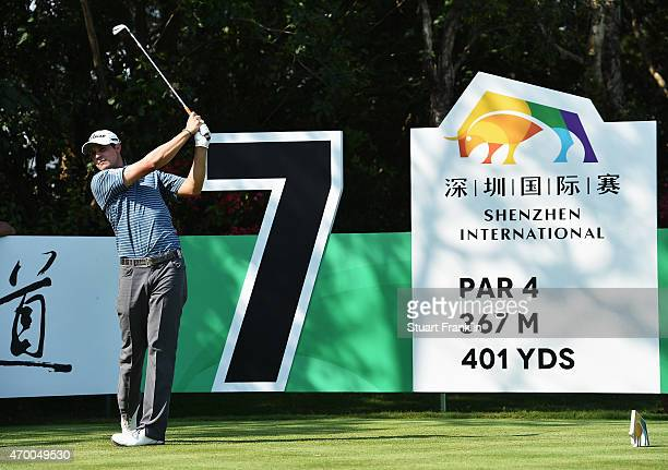 Peter Uihlein of USA plays a shot during the second round of the Shenzhen International at Genzon Golf Club on April 17 2015 in Shenzhen China