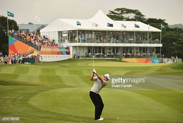 Peter Uihlein of USA plays a shot during the third round of the Shenzhen International at Genzon Golf Club on April 18 2015 in Shenzhen China
