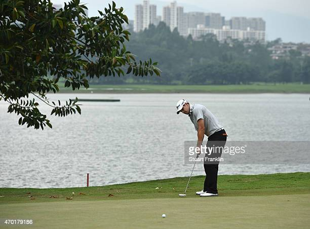 Peter Uihlein of USA putts on the 17th hole during the third round of the Shenzhen International at Genzon Golf Club on April 18 2015 in Shenzhen...