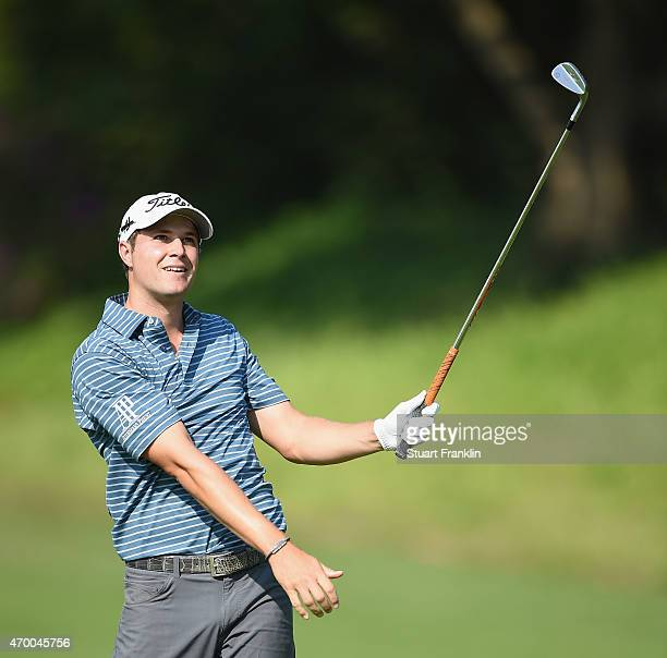 Peter Uihlein of USA reacts to a shot during the second round of the Shenzhen International at Genzon Golf Club on April 17 2015 in Shenzhen China