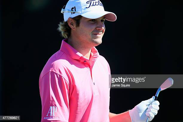 Peter Uihlein waits on the practice ground during the third round of the World Golf ChampionshipsCadillac Championship at Trump National Doral on...