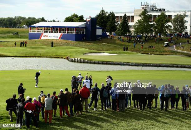 Peter Uihlien of The United States plays his third shot on the 18th during day three of the HNA Open de France at Le Golf National on July 1 2017 in...