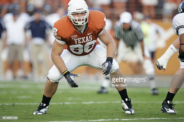 Peter Ullman of the Texas Longhorns prepares to block during the game against the Rice Owls on September 20 2008 at Darrell K RoyalTexas Memorial...