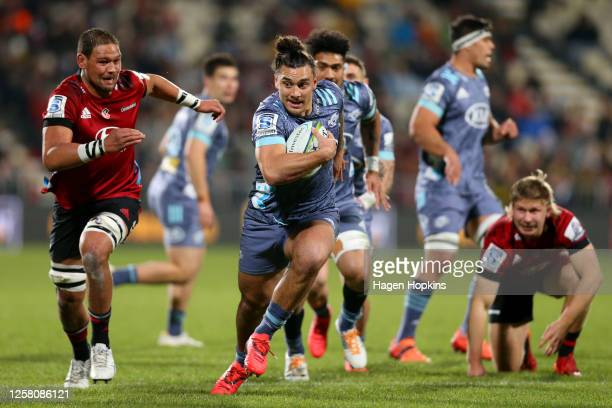 Peter UmagaJensen of the Hurricanes charges forward during the round 7 Super Rugby Aotearoa match between the Crusaders and the Hurricanes at...
