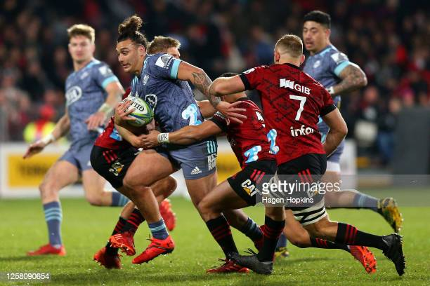 Peter Umaga-Jensen of the Hurricanes charges forward during the round 7 Super Rugby Aotearoa match between the Crusaders and the Hurricanes at...