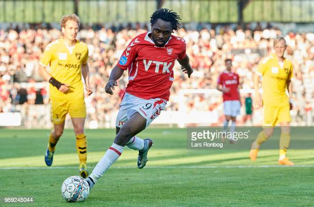 Peter Utaka of Vejle Boldklub controls the ball during the Danish NordicBet Liga match between Vejle Boldklub and FC Fredericia at Vejle Stadion on...