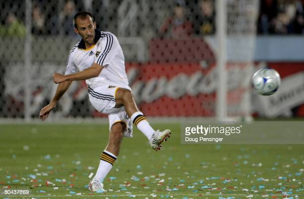 Peter Vagenas of the Los Angeles Galaxy in action against the Colorado Rapids at Dick's Sporting Goods Park on March 29 2008 in Commerce City...