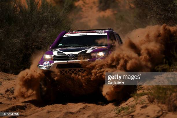 Peter Van Merksteijn of the Netherlands and Overdrive Toyota drives with codriver Maciej Marton of Poland in the Toyota Hilux car in the Classe T11...