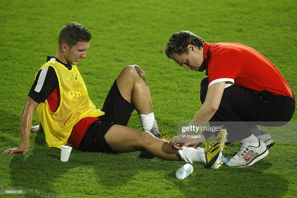 Peter van Ooijen of PSV (L) during the training camp of PSV Eindhoven on January 10, 2013 at Muanghtongh, Thailand.