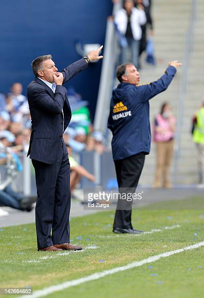 Peter Vermes head coach of Sporting Kansas City calls out to his team during a game against the Angeles Galaxy at Livestrong Sporting Park on April 7...