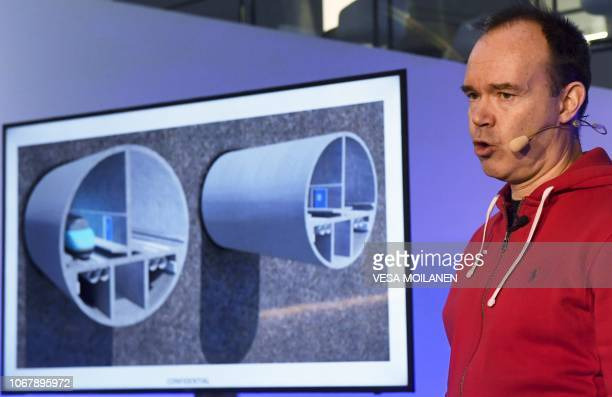 Peter Vesterbacka cofounder of the Finest Bay Area Development is seen during the press conference of the Helsinki Tallinn undersea railway tunnel in...