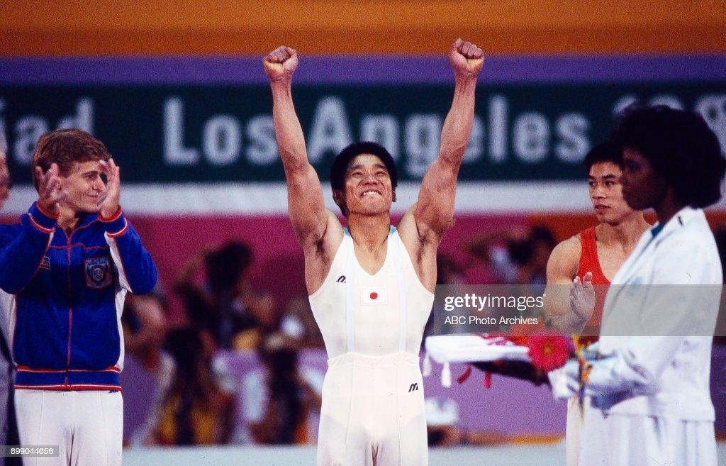 Peter Vidmar, Koji Gushiken, Li Ning, Men's Gymnastics medal ceremony, Pauley Pavilion, at the 1984 Summer Olympics, July 31, 1984.