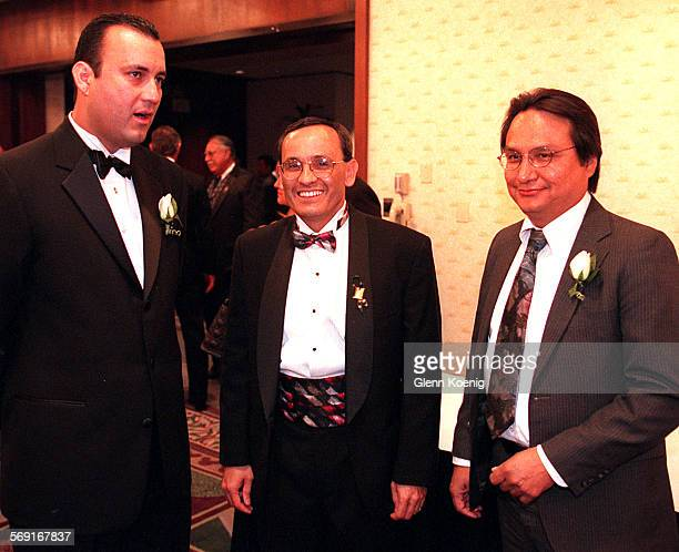 Peter Villegas , Ruben Smith and John Palacio during the Annual Estrella awards benefit , presented by the Hispanic Chamber of Commerce of Orange...