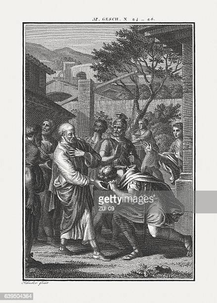 peter visits cornelius (acts 10), copper engraving, published c. 1850 - engraved image stock pictures, royalty-free photos & images