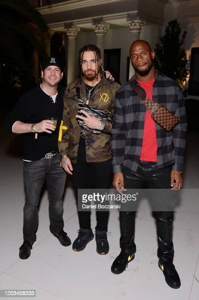 Peter von Gontard Duke Riley and Deion Jones attend Lil Wayne's Funeral album release party on February 01 2020 in Miami Florida