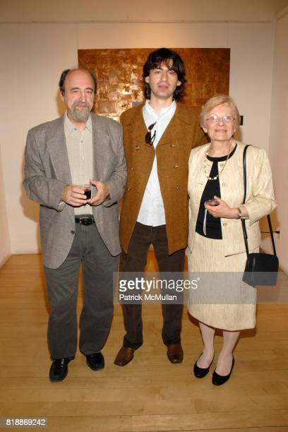 Peter Vukelic Mihailo Vekelic and Vesna Allouche attend Opera Gallery Opening Voigt Monet and Vukelic at Opera Gallery on April 15 2010 in New York...