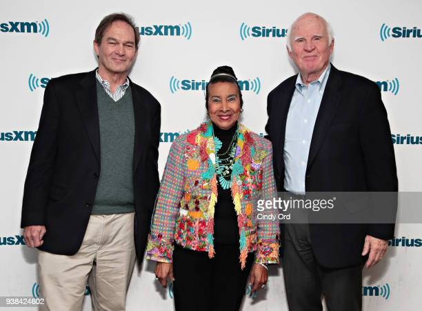 Peter W Kunhardt Xernona Clayton and Taylor Branch visit the SiriusXM Studios on March 26 2018 in New York City