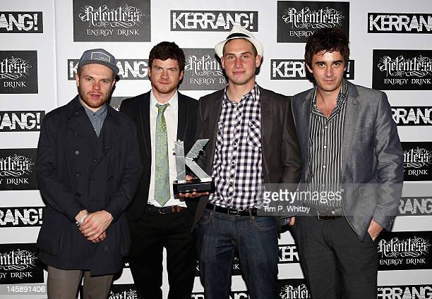 Peter Wafzig Rory Clewlow Rob Rolfe and Chris Batten of Enter Shikari with their Best Live Band award during the Kerrang Awards at The Brewery on...